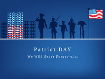 Patriot Day background. Illustration of soldier with U.S.A flag royalty free illustration
