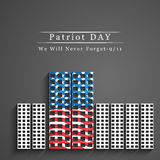Patriot Day background. Illustration of Twin towers with U.S.A Flag royalty free illustration