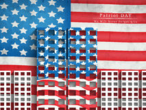 Patriot Day background. Illustration of twin towers with U.S.A flag Stock Images
