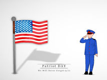 Patriot Day background. Illustration of U.S.A Flag with soldier Stock Photo