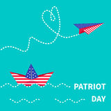 Patriot Day background Paper boat and paperplane. Dash line. Stock Image