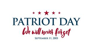 9/11 Patriot Day background. USA Patriot Day horizontal banner with lettering We will never forget. September 11, 2001. Vector design template for Patriot Day vector illustration