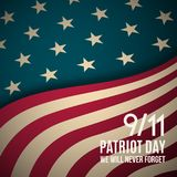 9/11 Patriot Day background. USA Patriot Day retro banner. September 11, 2001. We will never forget you. Vector design template for Patriot Day Vector Illustration