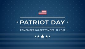 Patriot Day 9/11 blue background Remembering September 11 2001 - blue background banner. Patriot Day background with text - Remembering September 11 2001 - dark vector illustration