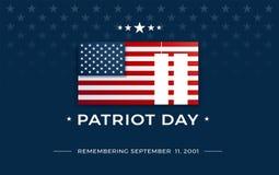 Patriot Day banner design background with text - Remembering September 11, 2001. The United States flag on dark blue background w/ stars, stripes - patriot stock illustration