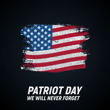 9.11 Patriot Day background We Will Never Forget Poster Template Vector illustration. EPS10 Royalty Free Stock Photos
