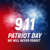 9.11 Patriot Day background We Will Never Forget Poster Template Vector illustration. EPS10 Royalty Free Stock Photography