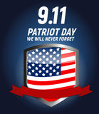 9.11 Patriot Day background We Will Never Forget Poster Template Vector illustration Royalty Free Stock Photos