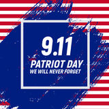 9.11 Patriot Day background We Will Never Forget Poster Template Vector illustration. EPS10 Royalty Free Stock Images
