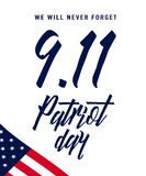 Patriot Day background. We Will Never Forget text sign Stock Image
