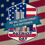 Patriot day badge emblem with buildings and American flag. Stock Photos