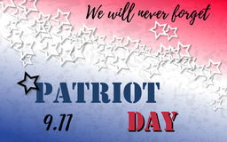 9.11 Patriot Day banner with typography lettering and abstract background with colors of american flag. Poster template. For memorial day, September 11, 2001 stock illustration
