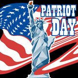 Patriot day card with the flag of unites states of america and statue of liberty Royalty Free Stock Images