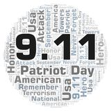 9.11 Patriot Day in a circle shape word cloud. 9 11 Patriot Day in a circle shape word cloud. Wordcloud made with text only Vector Illustration