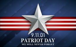 Patriot day. Design for postcard, flyer, poster, banner. 11th of september. We Will Never Forget. Vector illustration. Patriot day. Design for postcard, flyer stock illustration
