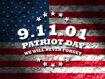 9-11 - patriot day. Greeting card american flag grunge background Stock Image