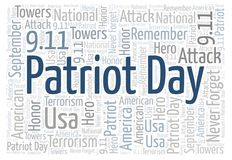 Patriot Day horizontal word cloud. Wordcloud made with text only Royalty Free Illustration