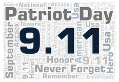 9.11 Patriot Day horizontal word cloud. 9 11 Patriot Day horizontal word cloud. Wordcloud made with text only Royalty Free Illustration