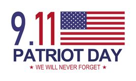 Patriot day 9.11 . Memorial day, We will never forget. White background.  Vector Illustration