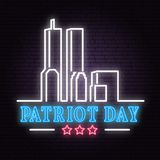 Patriot Day neon sign. We will never forget september 11, 2001. Patriotic banner or poster. Vector illustration for Patriot Day royalty free illustration