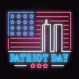 Patriot Day neon sign. We will never forget september 11, 2001. Patriotic banner or poster. Vector illustration for Patriot Day vector illustration