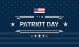 Patriot Day September 11 powerful American design. Dark blue background w/ United States flag, Patriot Day 9/11. Lettering, ribbons. Vector illustration for Royalty Free Illustration