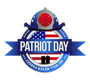 Patriot day seal. fire fighters illustration. Design over white Royalty Free Stock Photo
