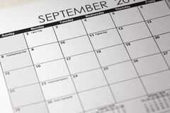 Patriot day in selective focus on the simple September 2019 calendar. Planner dairy stock photography