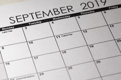 Patriot day in selective focus on the simple September 2019 calendar. Planner dairy stock images