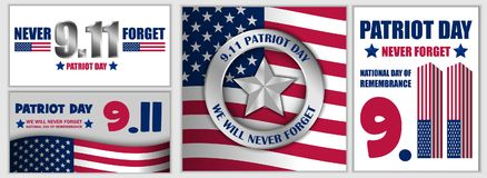 Patriot Day September 11 banner set, flat style. Patriot Day September 11 banner concept set. Flat illustration of 3 Patriot Day September 11 banner concepts for Royalty Free Illustration