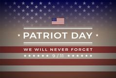 Patriot Day 9/11 September 11, 2001 banner vector background We Will Never Forget 9/11. Patriot Day September 11, 2001 banner background with text - We Will stock illustration