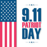 Patriot Day, september 11, poster with United States national flag. Stock Image