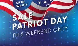 Patriot Day. 11 September. Sale. This weekend only. Waving flag. Vector illustration. Patriot Day. 11 September. Sale. This weekend only. Waving flag Stock Images