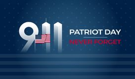 Patriot Day September 11 9/11 USA banner - United States flag, 911 memorial. And Never Forget lettering on blue vector background stock illustration