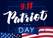 Patriot day USA Never forget 9.11, vector banner. Patriot Day September 11, We will never forget, american background stock illustration