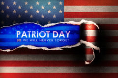 Patriot Day September 11, 2001 , we will never forget concept wi. Th abstract american  flag  Torn Paper Background Stock Illustration