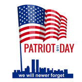 Patriot Day. September 11. We will never forget, hand holds american flag, vector, isolated, illustration. Patriot Day. September 11. We will never forget stock illustration