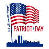 Patriot Day. September 11. We will never forget, hand holds american flag, vector, isolated, illustration. Patriot Day. September 11. We will never forget royalty free illustration