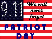 Patriot Day. September 11. We will never forget. Flag USA royalty free illustration