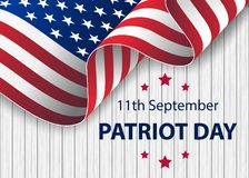 Patriot Day. September 11. We will never forget. Patriot day USA Never forget 9.11 vector poster. Patriot Day, September 11, We will never forget. Waving flag of vector illustration