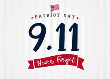 Patriot day USA 9/11, Never forget lettering on light stripes banner. Patriot Day, September 11, We will never forget text on light beams background vector illustration