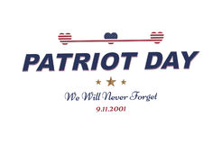 Patriot Day september 11. 2001 We will never forget. Typography with the flag of the USA on a white background. Vector font combin. Ation to the day of memory of stock illustration