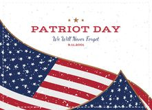 Patriot Day september 11. 2001 We will never forget. Typography with the flag of the USA on a white background. Vector font combin. Ation to the day of memory of vector illustration