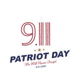 Patriot Day september 11. 2001 We will never forget. Typography with the twins tower on a white background. Vector font combinatio. N to the day of memory of the Stock Photo