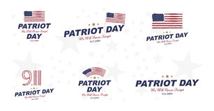 Patriot Day september 11. 2001 We will never forget. Typography with the twins tower on a white background. Vector font combinatio. N to the day of memory of the Royalty Free Stock Photography