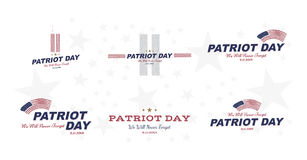 Patriot Day september 11. 2001 We will never forget. Typography with the twins tower on a white background. Vector font combinatio. N to the day of memory of the Stock Image