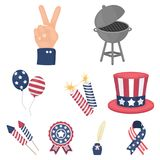 Patriot Day related icon set. Patriot Day set icons in cartoon style. Big collection of Patriot Day vector symbol stock Stock Photo