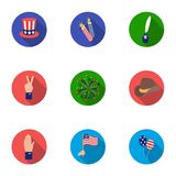 Patriot Day set icons in flat style. Big collection of Patriot Day vector symbol stock illustration Stock Photography