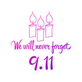 Patriot day, simple memorial design  illustration 11 september. Royalty Free Stock Images