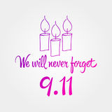 Patriot day, simple memorial design  illustration 11 september. Stock Photography